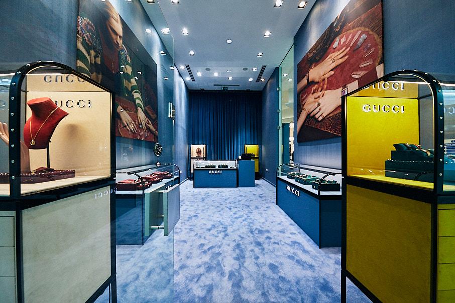 Interior shot of Gucci watch shop