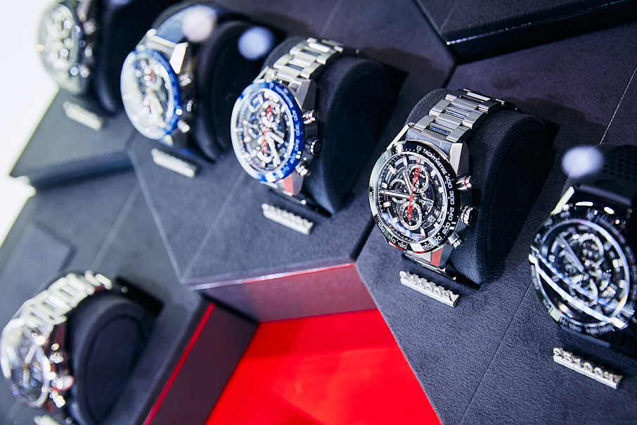 Tag Heuer watches on display