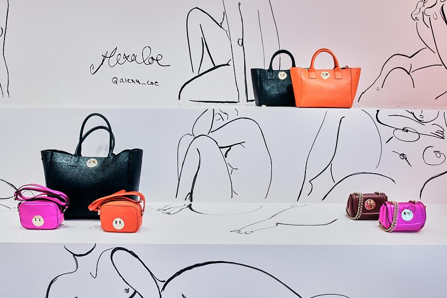 Handbag display in store
