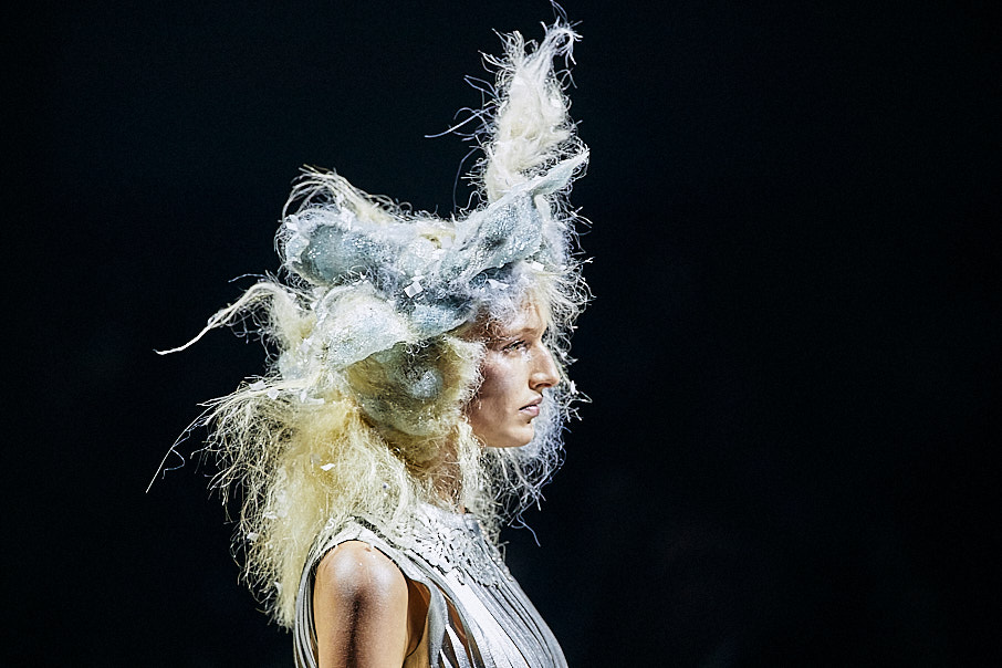 Toni & Guy female hair model on stage with dramatic hair