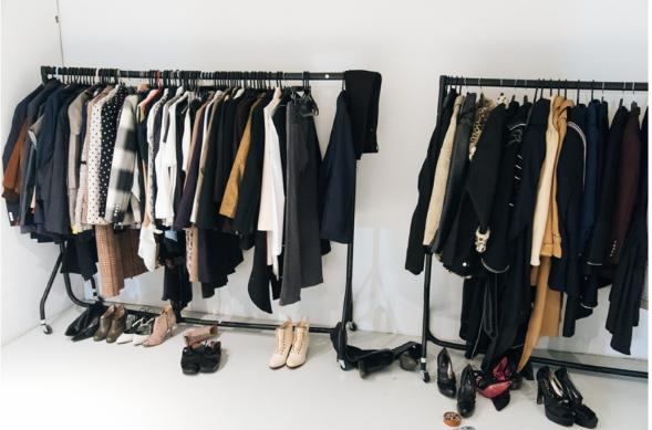 Clothes on a rail at a fashion show
