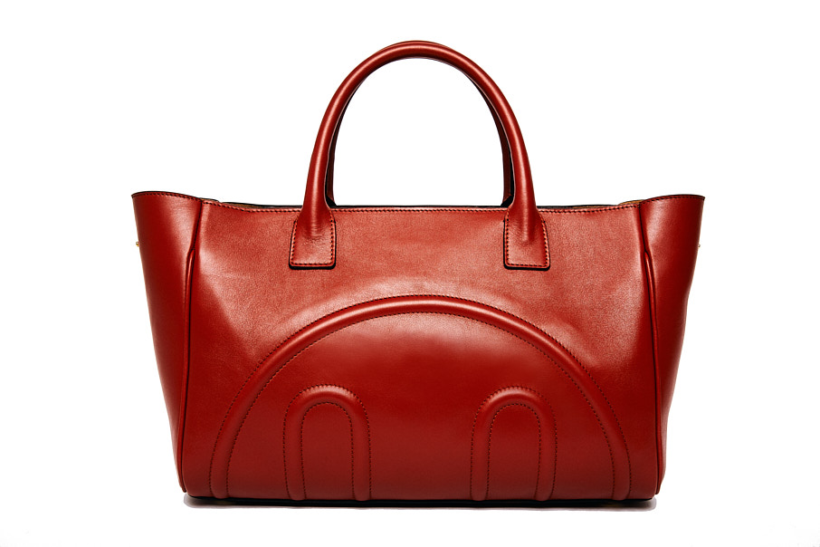 Hill and Friends Tote leather handbag in oxblood red