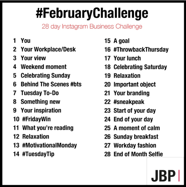 February Instagram Challenge including words to prompt content ideas